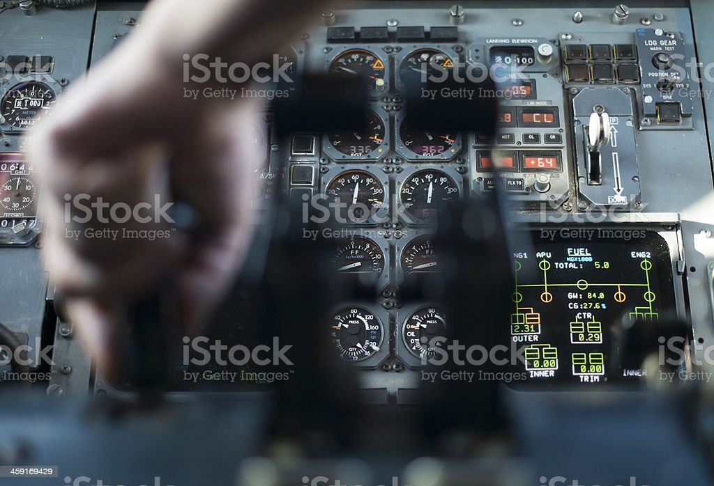 old aircraft's cruising panel stock photo