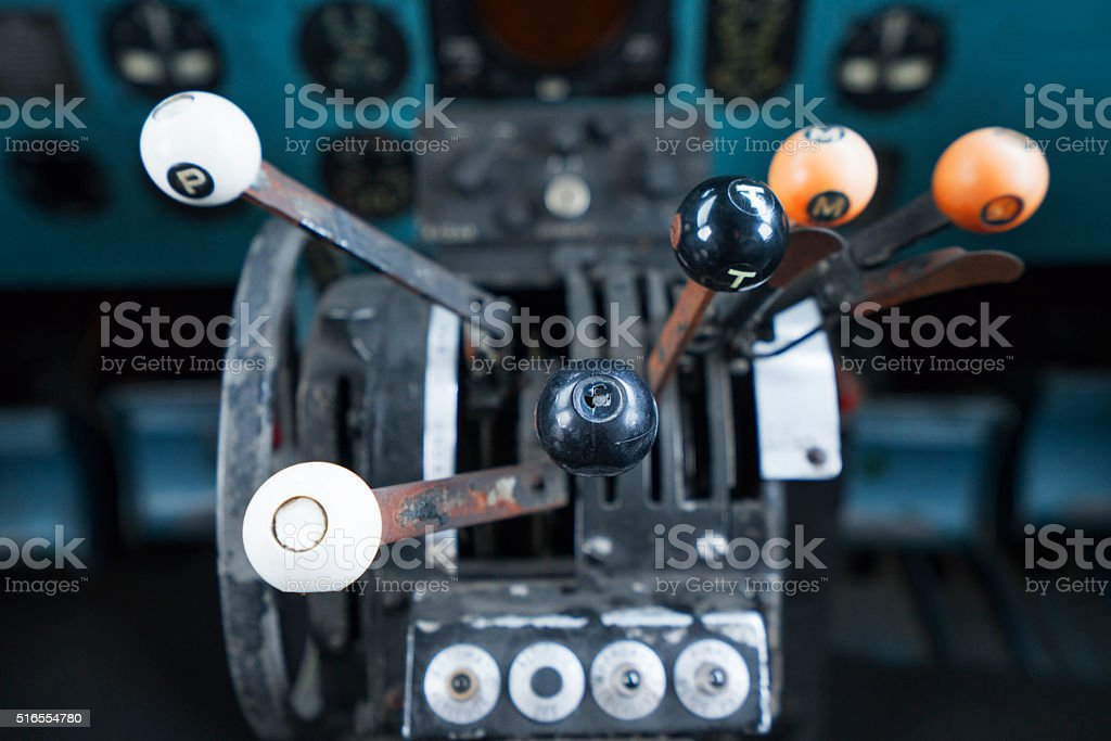 Old Airplane Cockpit Details stock photo
