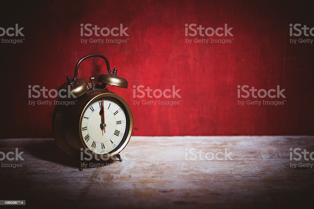 Old alarm clock stock photo