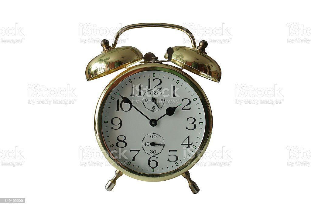 old alarm clock with clipping paths royalty-free stock photo