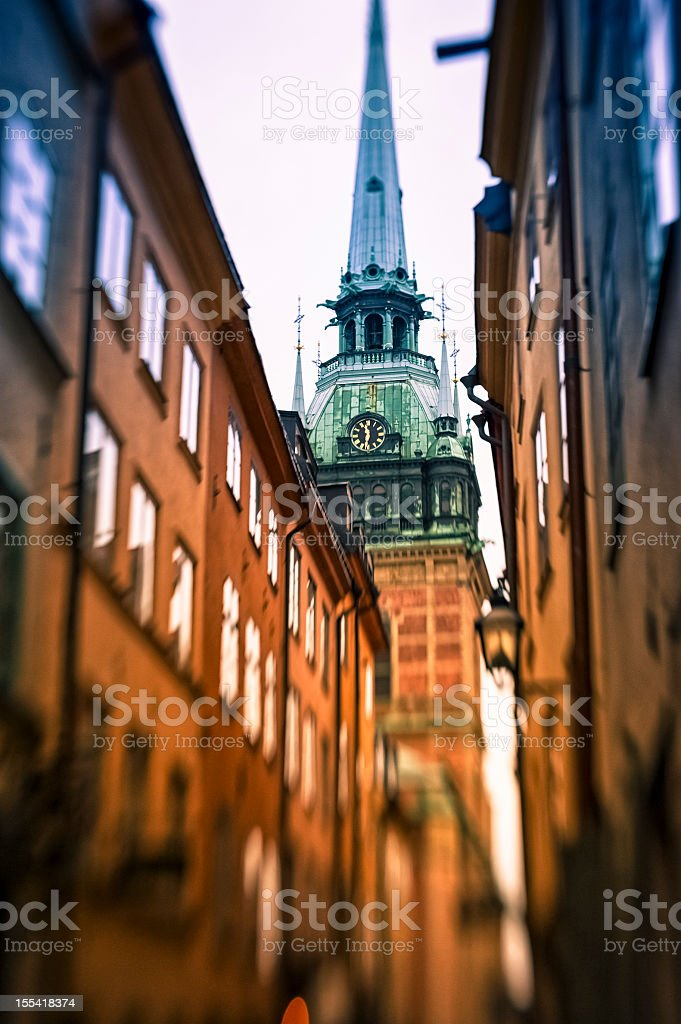 Old Alley and Cathedral In Stockholm stock photo