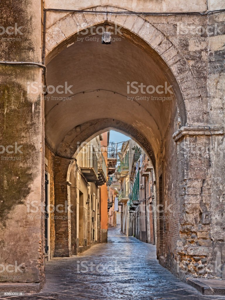 old alley in Lanciano, Abruzzo, Italy stock photo