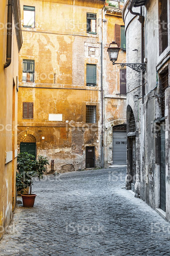 Old Alley in Rome stock photo