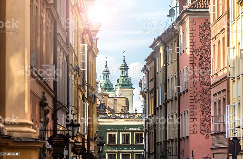 Old alley in the old part of Warsaw stock photo