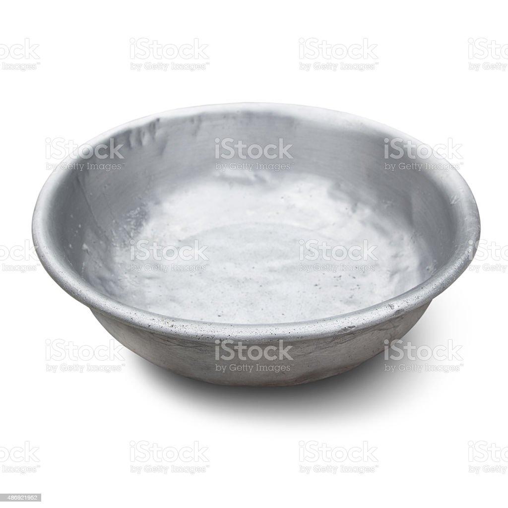 old aluminium bowl stock photo
