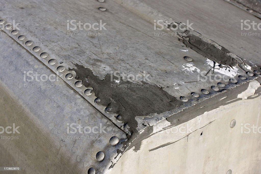 Old aluminum boat detail stock photo