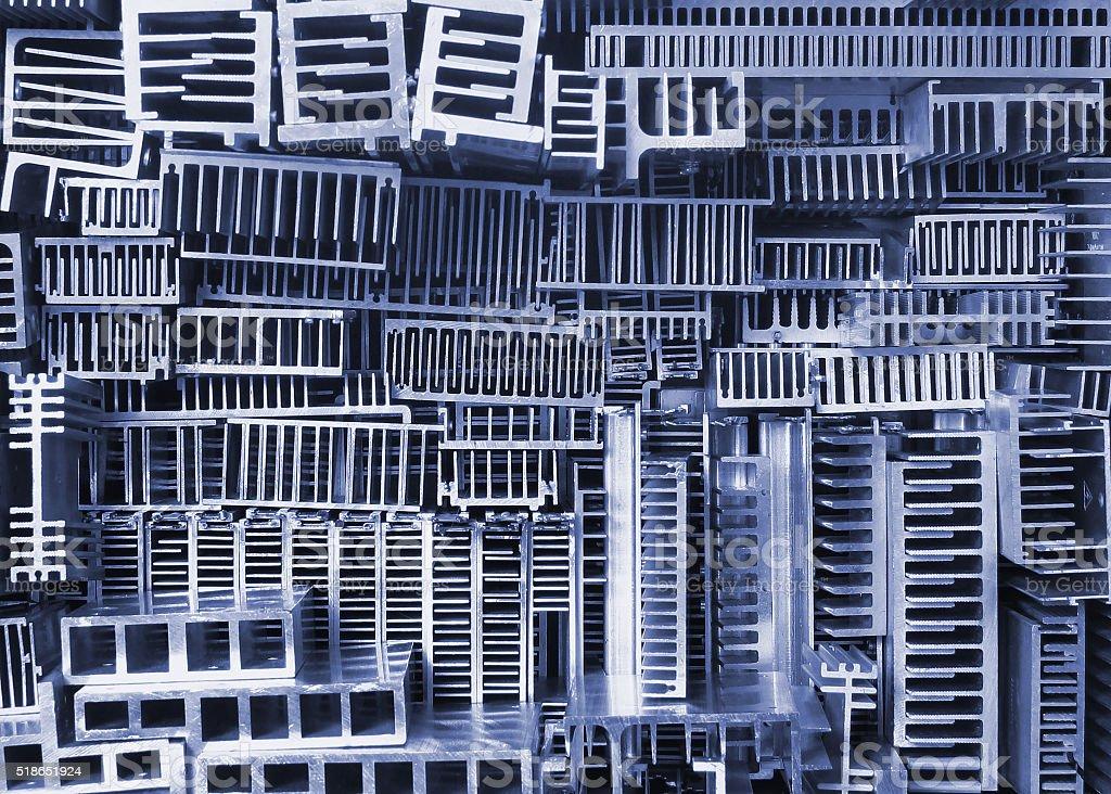 Old aluminum heatsinks - abstract background stock photo