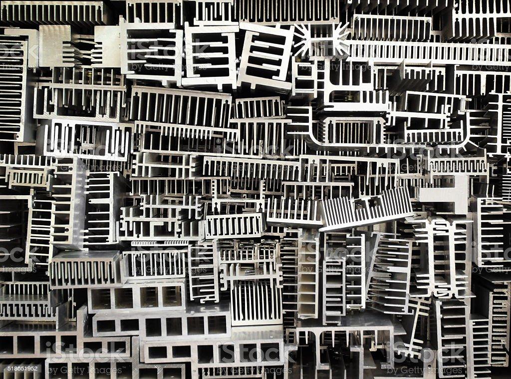 Old aluminum heatsinks abstract background stock photo