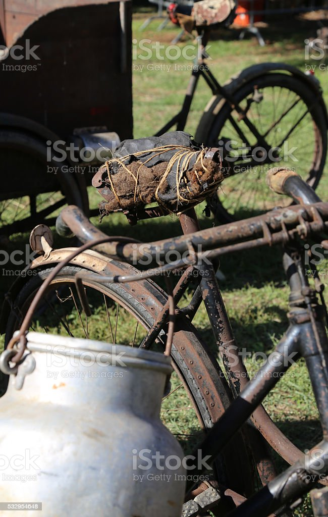 old aluminum Milk Canister used by farmers stock photo