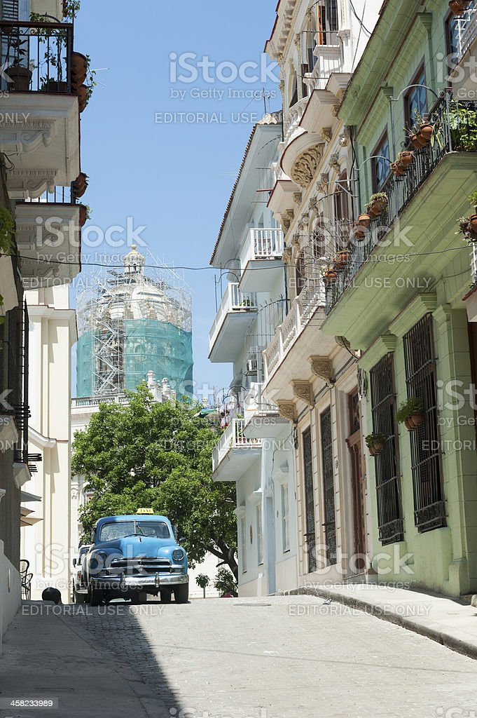 old american car as a taxi in Havana, Cuba royalty-free stock photo