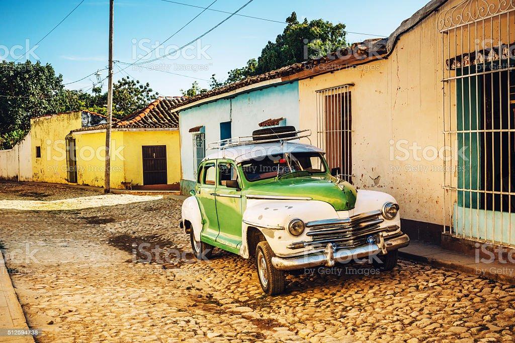Old American car on cuban street stock photo