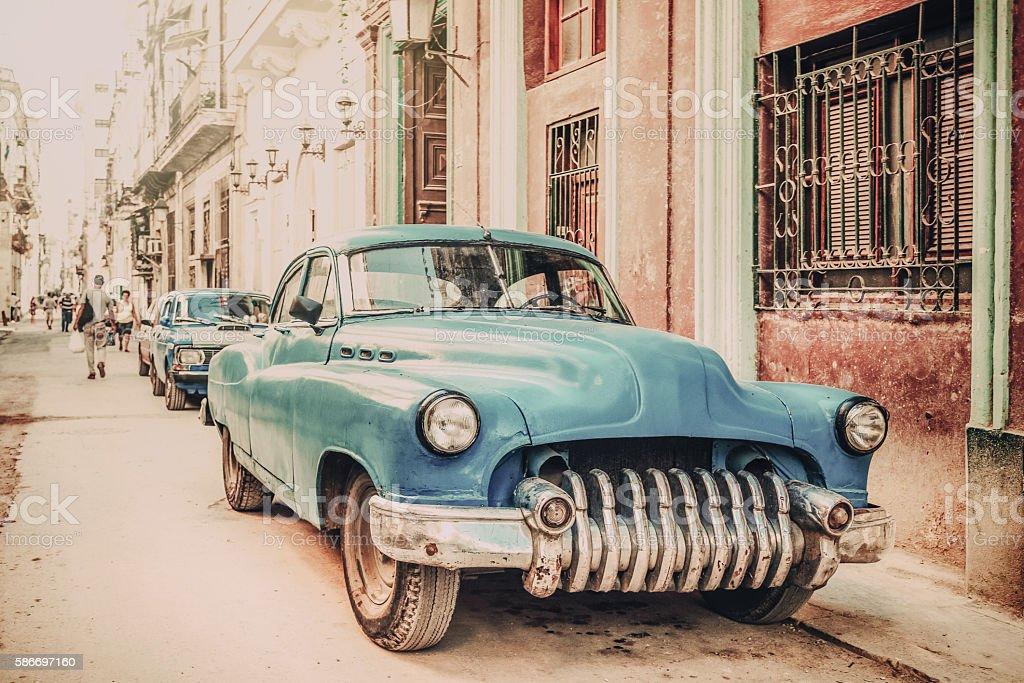 Old American car on Havana street, vintage style stock photo
