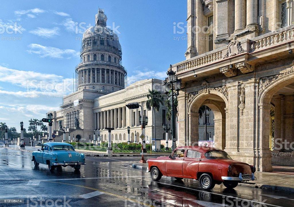 Old American car on street in Havana, Cuba stock photo