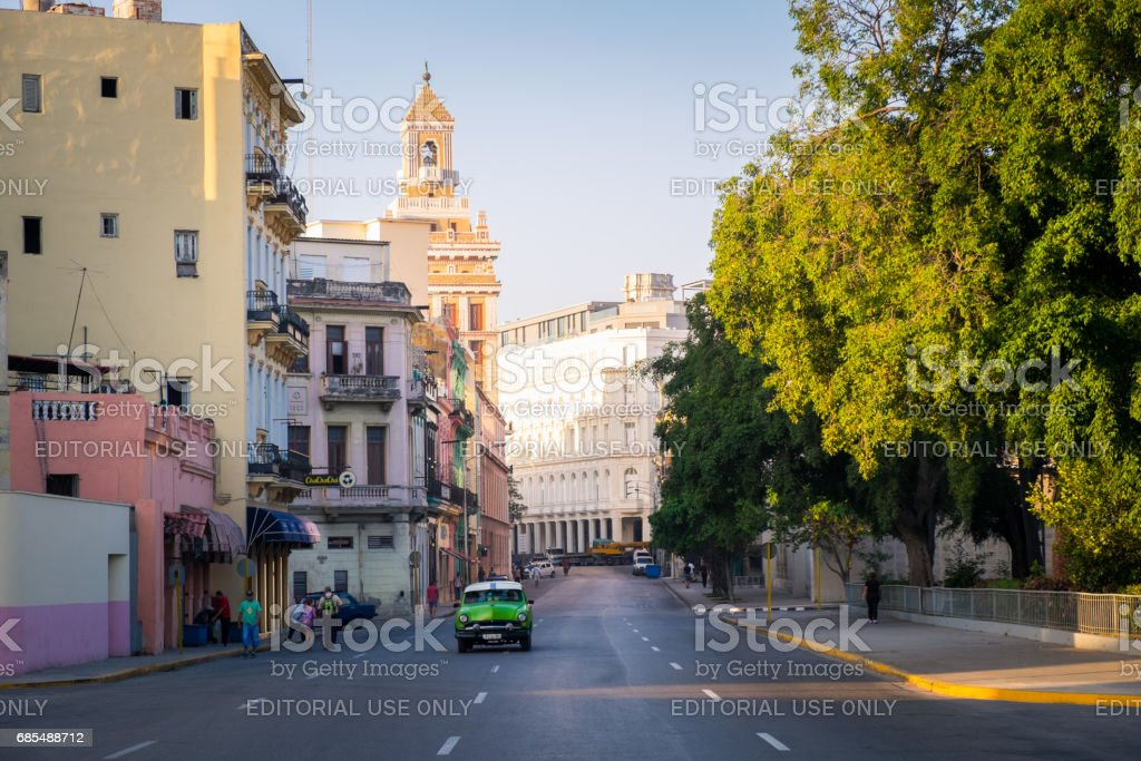 Old American car on the streets of Havana, Cuba stock photo