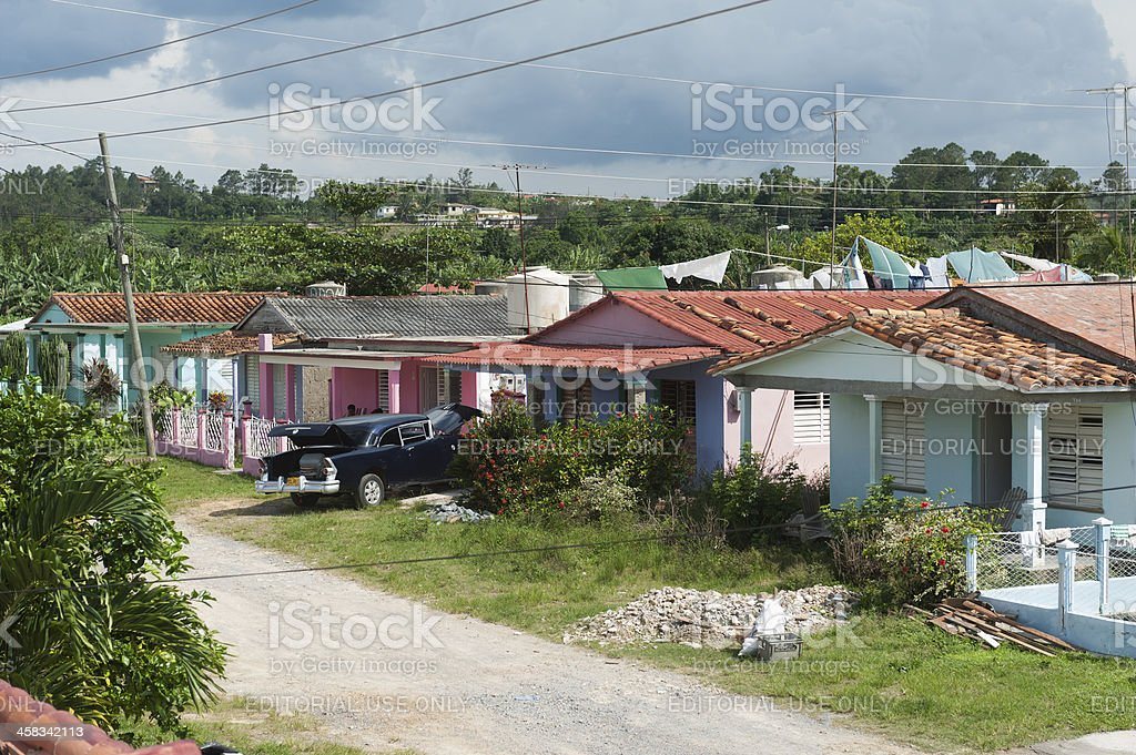 old american car parked in valle de vinales, Cuba royalty-free stock photo