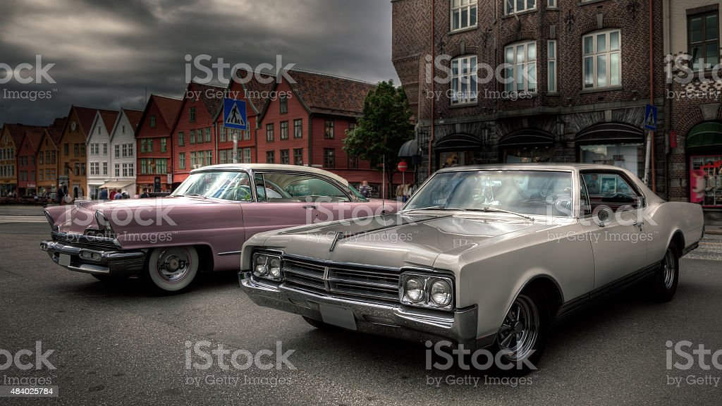 Old american classic car. stock photo