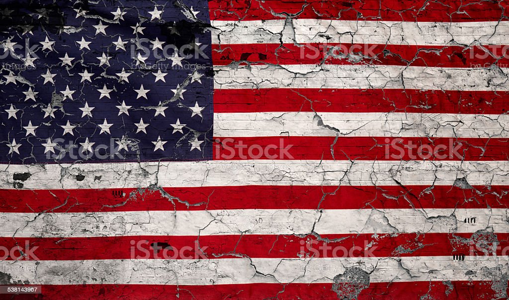 Old American Flag Chipping Paint stock photo