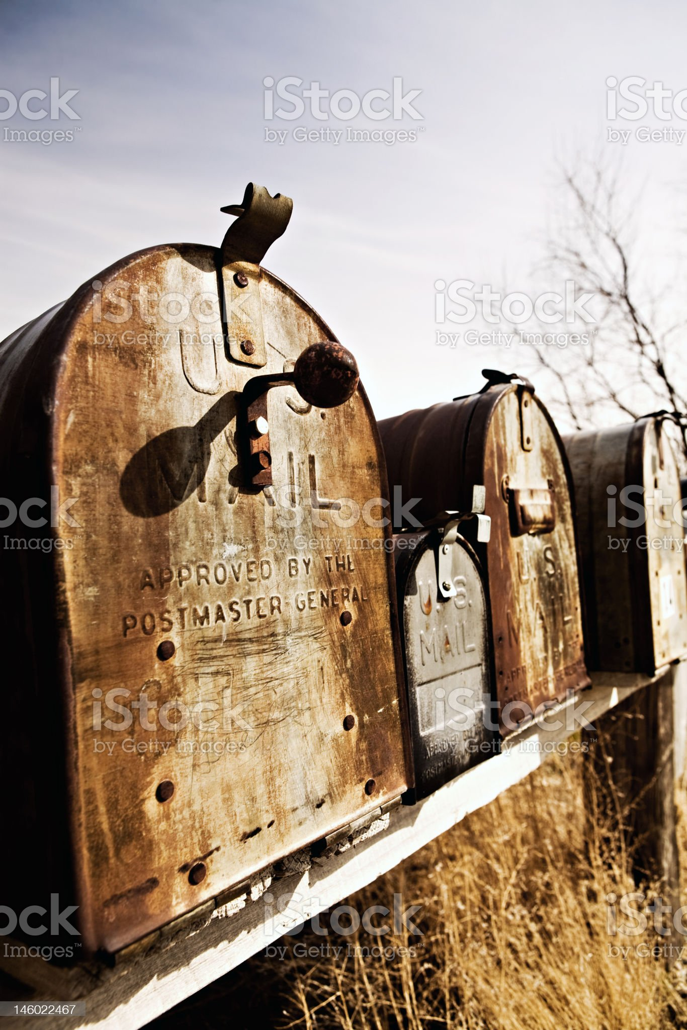 old American mailboxes in midwest royalty-free stock photo