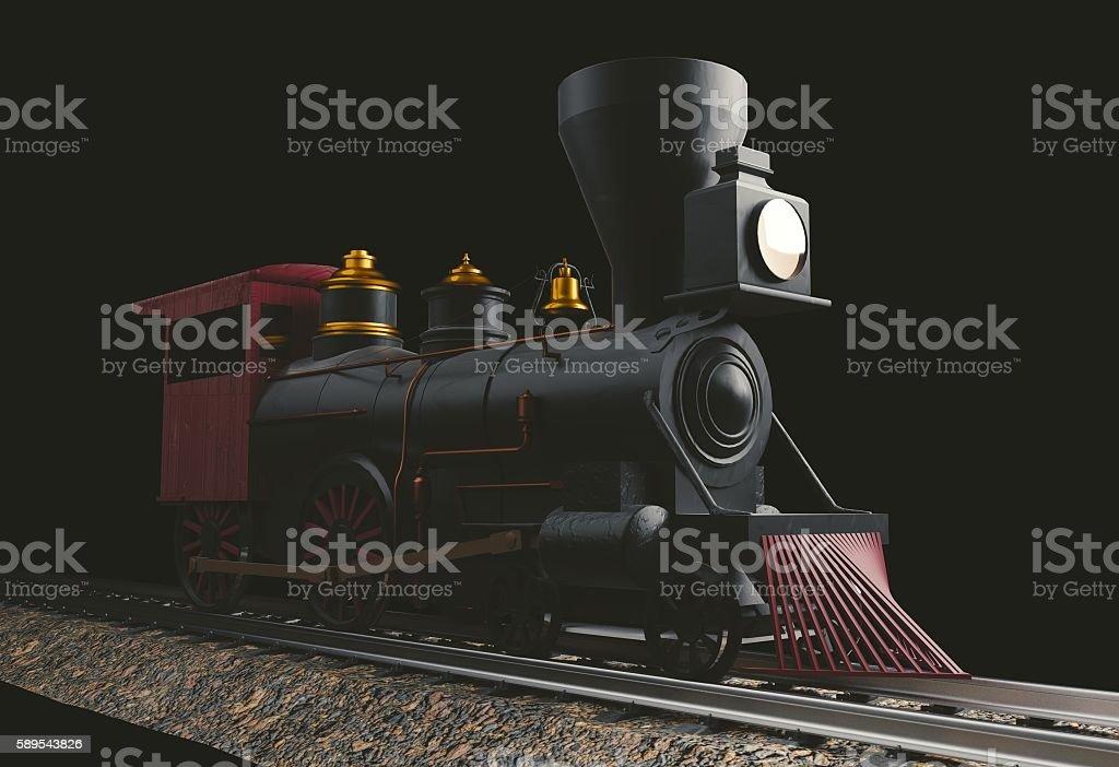 Old American Steam Locomotive 3D illustration stock photo
