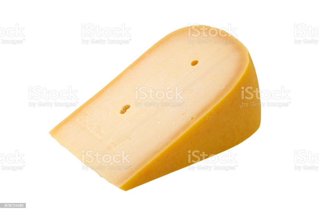 Old Amsterdam cheese slice isolated stock photo