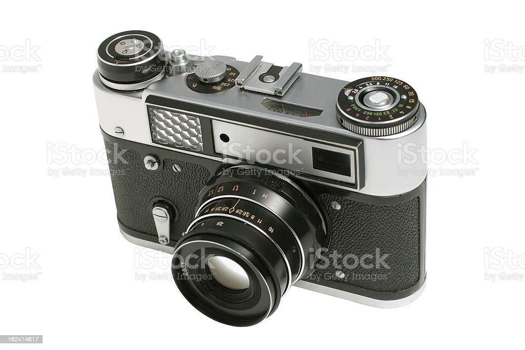 Old analog camera isolated on white background royalty-free stock photo