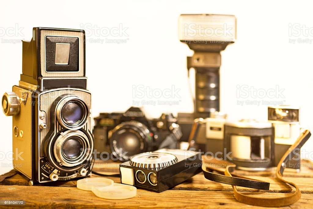 old analogue photographic cameras stock photo