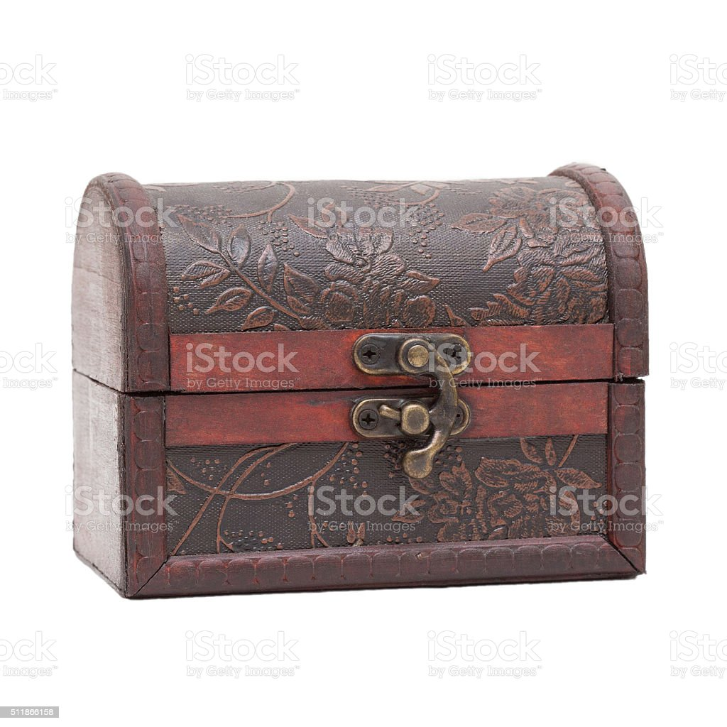 Old ancient chest isolated on white background stock photo