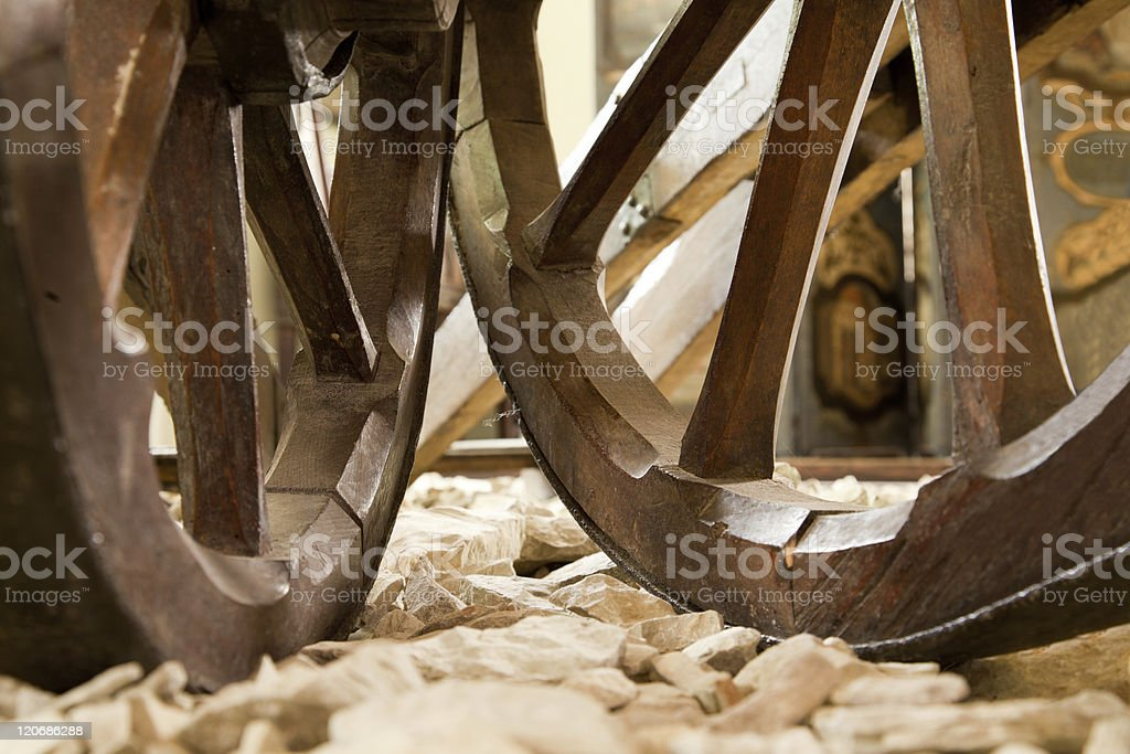 old ancient wooden cartwheels stock photo