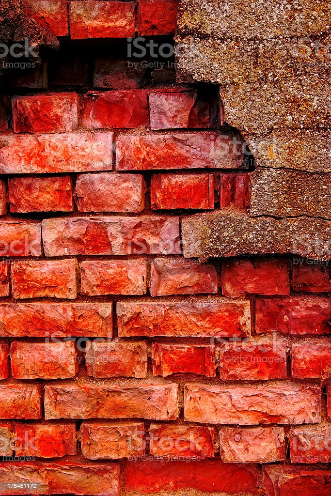 Old and damaged brick wall royalty-free stock photo