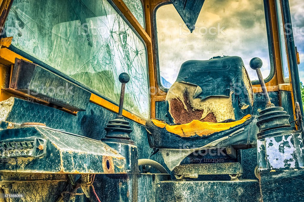 Old And Damaged Bulldozer Cabin royalty-free stock photo