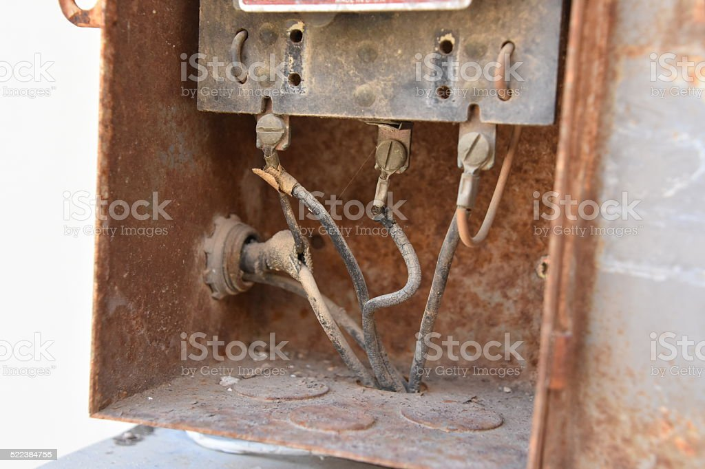 Old and dangerous wiring stock photo