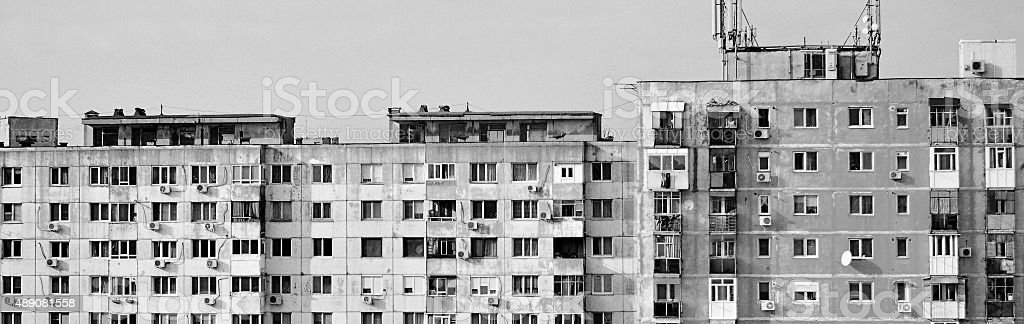 old and disused buildings in Bucharest stock photo