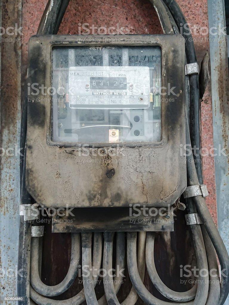 Old and dusty Watt hour meter stock photo