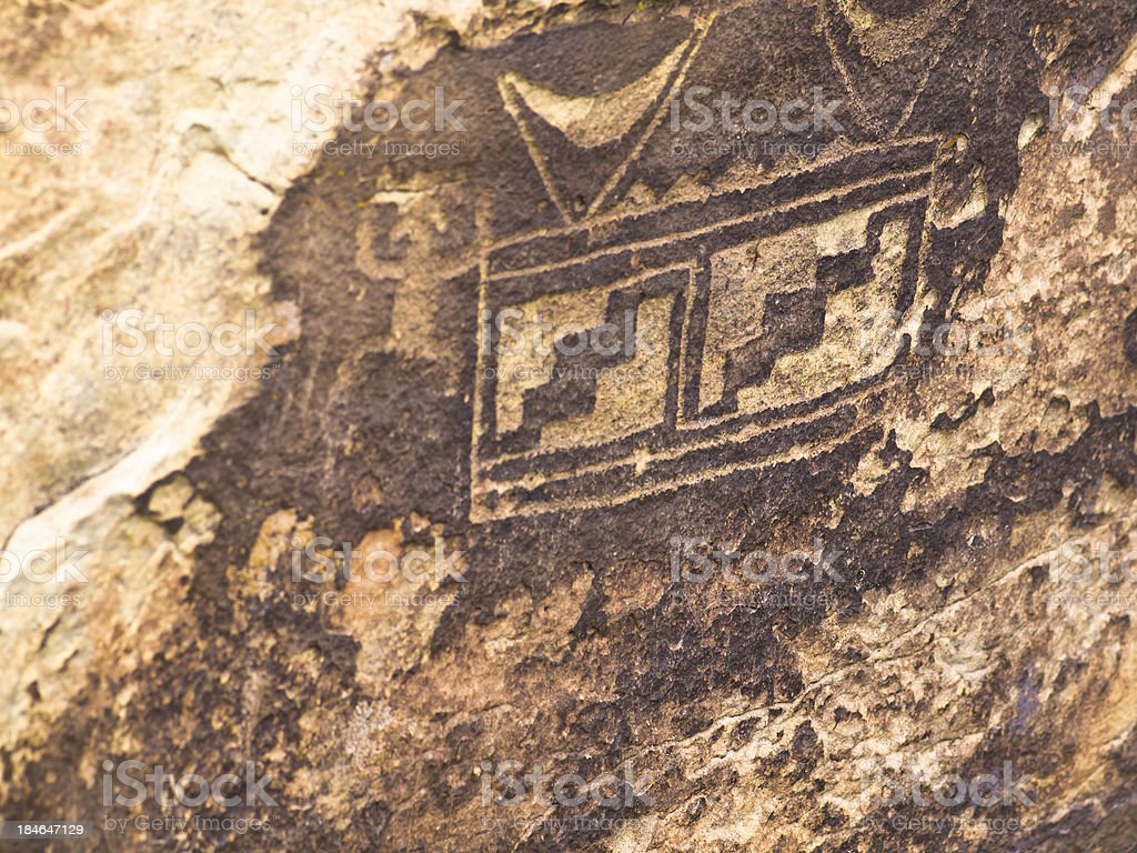 old and historic pueblo an petroglyphs royalty-free stock photo