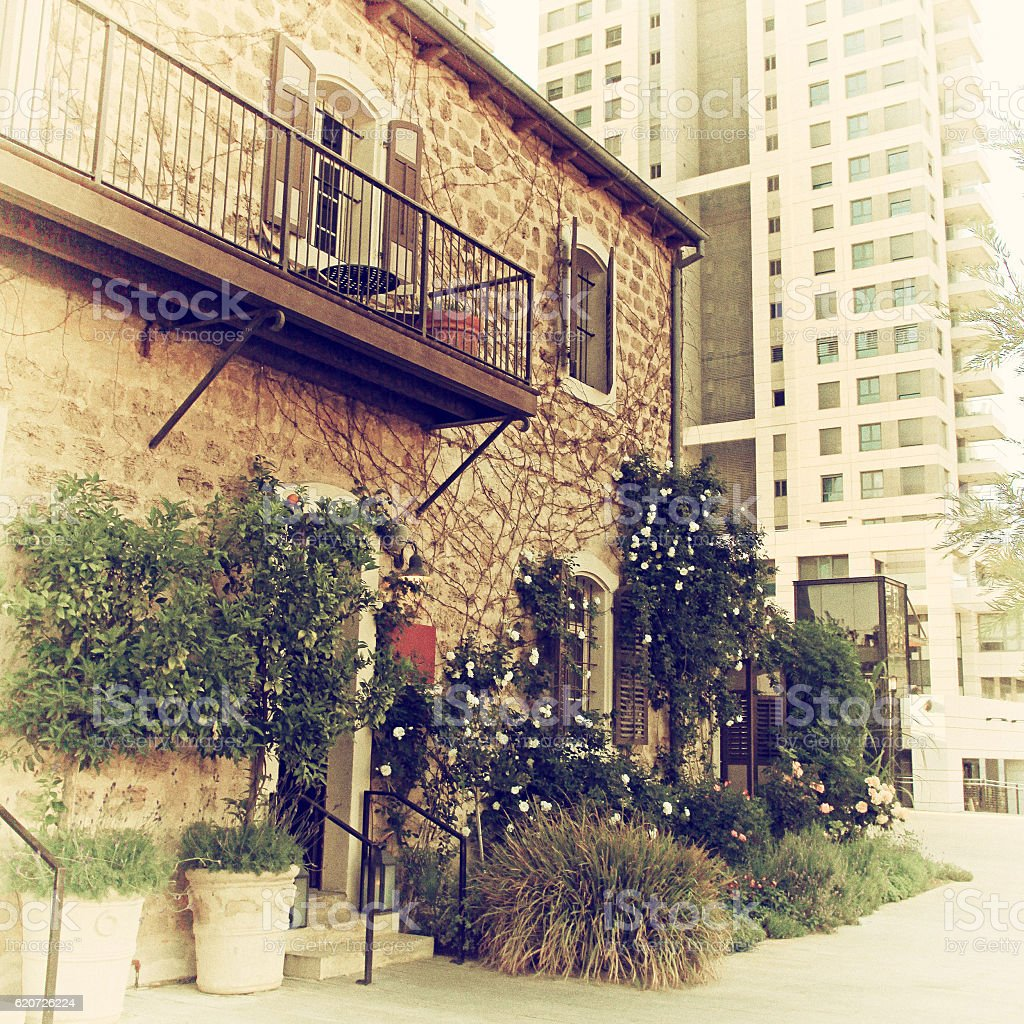 Old and modern buildings at Sarona district, Tel Aviv stock photo