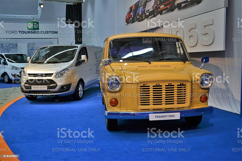 Old and modern Ford commercial vehicle stock photo
