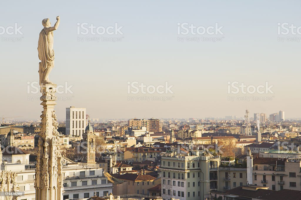 Old and Modern in Milan (Italy) royalty-free stock photo
