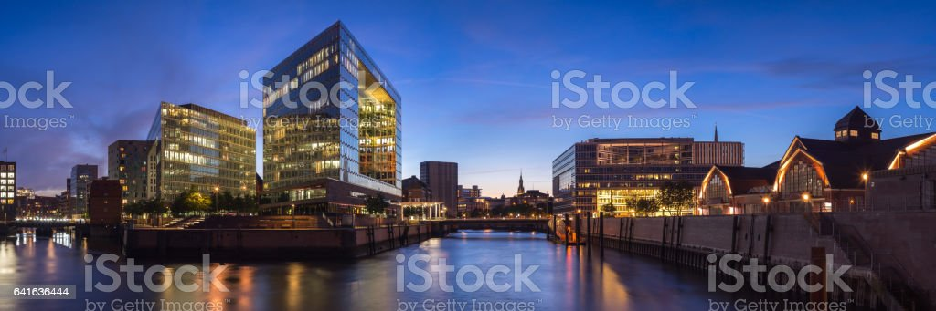 Old and new architecture in Hamburg, Germany. Panorama stock photo