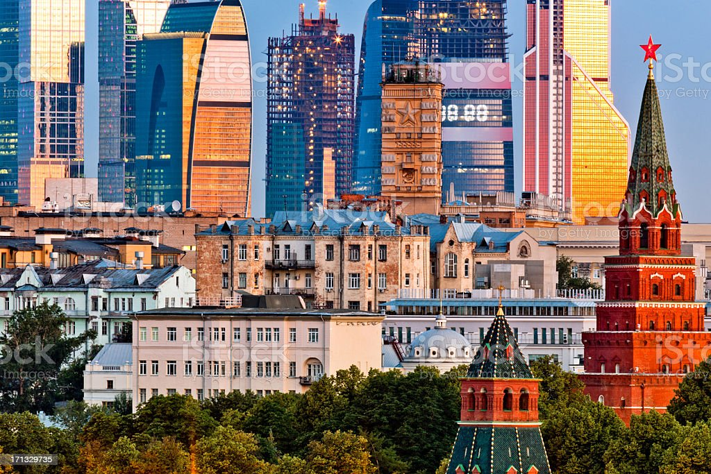 Old and new architecture of Moscow stock photo