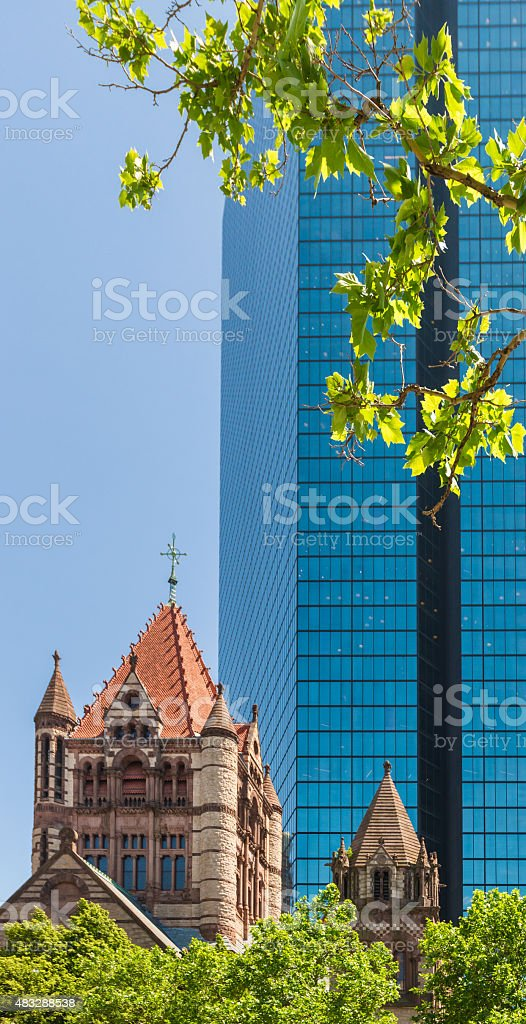 Old and New Architecture, Trinity Church in Boston, Massachusetts stock photo
