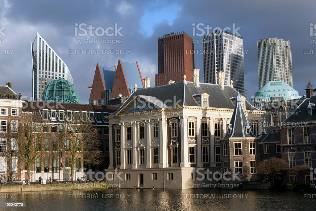 Old and new architectuur in the hague Holland stock photo