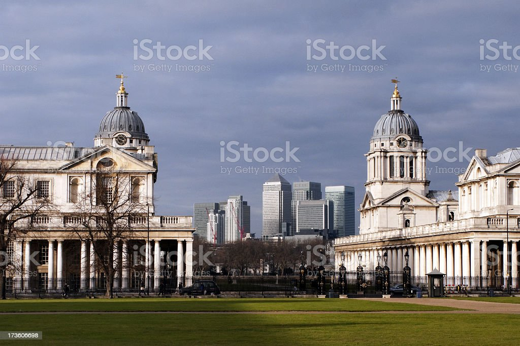 Old and new buildings at Greenwich royalty-free stock photo