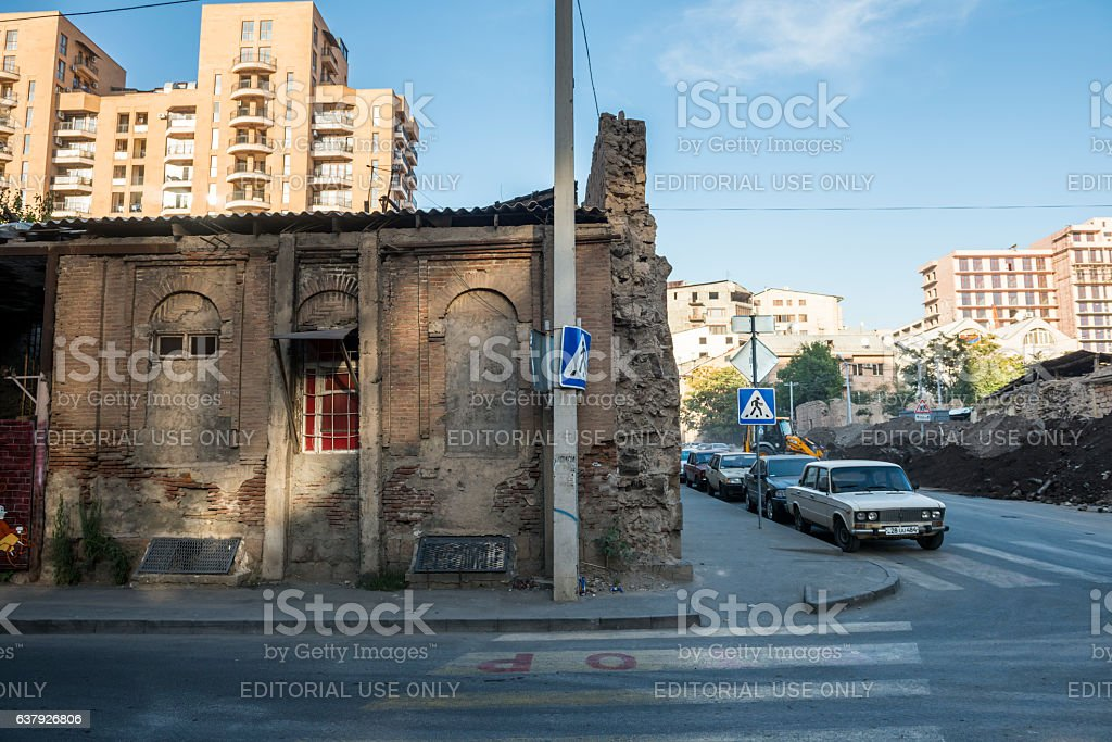 Old and new buildings in Yerevan, Armenia stock photo