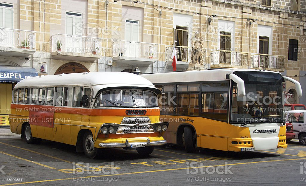 Old And New Buses, Malta stock photo