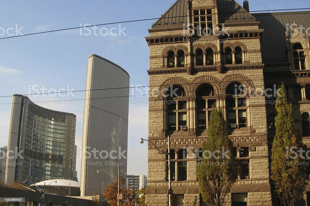 Old and new city halls of Toronto stock photo