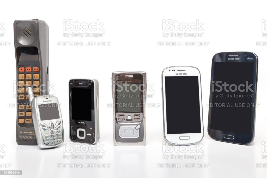 Old and New Design Mobile Phone on white background. stock photo