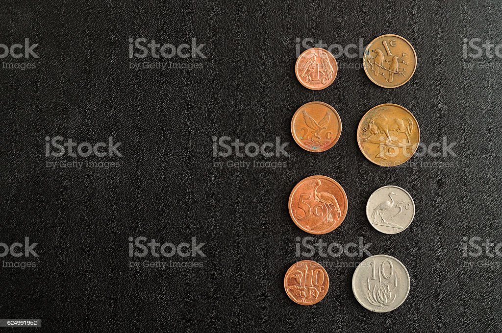 Old and new different South African coins stock photo