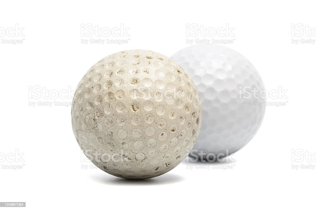 old and new golf ball royalty-free stock photo