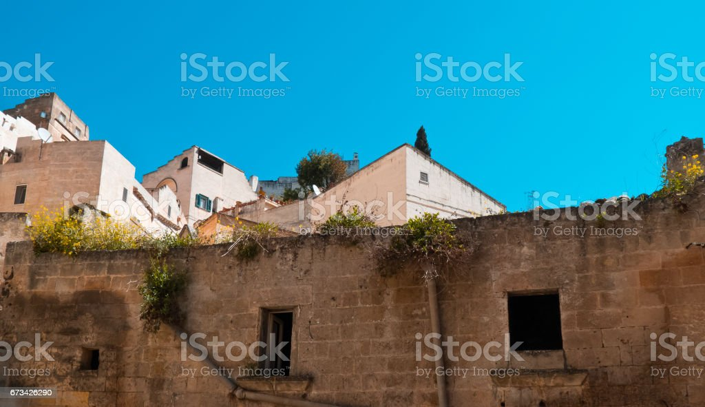 Old and new houses in the city of Matera. stock photo