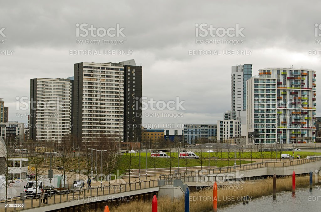 Old and New Housing in Stratford, London stock photo